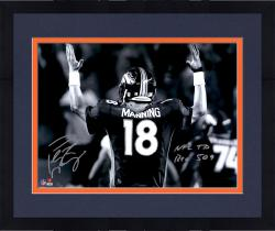 "Framed Peyton Manning Denver Broncos Becomes NFL All-Time Passing Touchdown Record Leader Autographed 16'' x 20'' Spotlight Photograph with ""NFL TD REC 509 10/19/14"" Inscription"