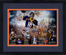 "Framed Peyton Manning Denver Broncos Becomes NFL All-Time Passing Touchdown Record Leader Autographed 20"" X 24"" Timeline Photograph - Limited Edition #2-17, 19-250 of 250"