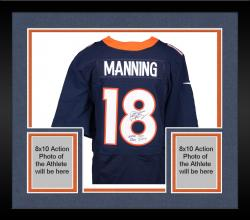 "Framed Peyton Manning Denver Broncos Becomes NFL All-Time Passing Touchdown Record Leader Autographed Navy Blue Nike Elite Jersey with ""NFL TD REC 509 10/19/14"" Inscription"