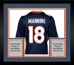 "Framed Peyton Manning Denver Broncos  Becomes NFL All-Time Passing Touchdown Record Leader Autographed Navy Blue Nike Limited Jersey with ""NFL TD REC 509 10/19/14"" Inscription"