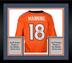"Framed Peyton Manning Denver Broncos Becomes NFL All-Time Passing Touchdown Record Leader Autographed Orange Nike Elite Jersey with ""NFL TD REC 509 10/19/14"" Inscription"