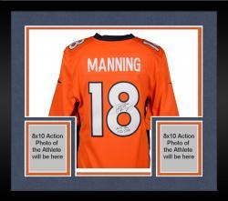 "Framed Peyton Manning Denver Broncos  Becomes NFL All-Time Passing Touchdown Record Leader Autographed Orange Nike Limited Jersey with ""NFL TD REC 509"" Inscription"