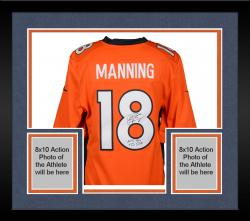 "Framed Peyton Manning Denver Broncos  Becomes NFL All-Time Passing Touchdown Record Leader Autographed Orange Nike Limited Jersey with ""NFL TD REC 509 10/19/14"" Inscription"