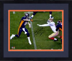 "Framed Peyton Manning Denver Broncos Becomes NFL All-Time Touchdown Passing Record Leader Autographed  16"" X 20"" Over The Top Throw Photograph"