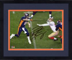 "Framed Peyton Manning Denver Broncos Becomes NFL All-Time Touchdown Passing Record Leader Autographed 8"" X 10"" Over The Top Throw Photograph"