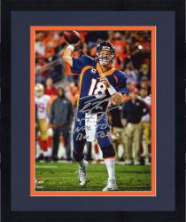 "Framed Peyton Manning Denver Broncos Becomes NFL All-Time Touchdown Passing Record Leader Autographed 8"" X 10"" Photograph with ""NFL TD REC 509 10/19/14"" Inscription Signed in Silver Ink"