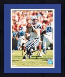 Framed Peyton Manning Indianapolis Colts Autographed 8'' x 10'' Drop Back Photograph