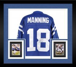 Framed Peyton Manning Indianapolis Colts Autographed EQT Blue Jersey