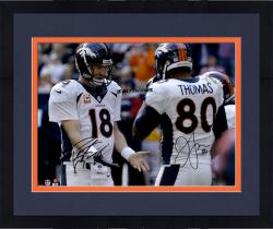 Framed Peyton Manning & Julius Thomas Denver Broncos Dual Autographed 16'' x 20'' Photograph with TD #51 12/22/13 Inscription