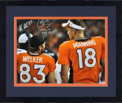 Framed Peyton Manning & Wes Welker Denver Broncos Autographed 16'' x 20'' Back Shot Photograph with Welcome to Mile High Inscription - Mounted Memories