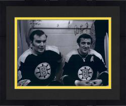 Framed Phil Esposito & Ken Hodge Boston Bruins Autographed 16'' x 20'' Locker Photograph with SC Champs Inscription