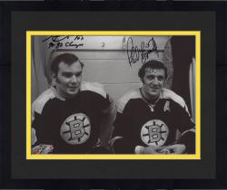 "Framed Phil Esposito & Ken Hodge Boston Bruins Autographed 8"" x 10"" Locker Photograph with SC Champs Inscription"