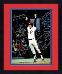 "Framed Philadelphia Phillies 1980 World Series Champions Team Autographed 16"" x 20"" Tug McGraw Jumping Photograph with 24 Signatures and Multiple Inscriptions"