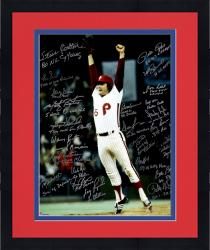 "Framed Philadelphia Phillies 1980 World Series Champions Team Autographed 20"" x 24"" Tug McGraw Jumping Photograph with 24 Signatures and Multiple Inscriptions"