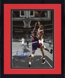 Framed Scottie Pippen Chicago Bulls Autographed 8'' x 10'' Dunk On Patrick Ewing Spotlight Photograph