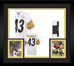 Framed Troy Polamalu Pittsburgh Steelers Autographed Reebok White Jersey with SB Patches