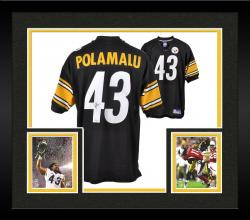 Framed Troy Polamalu Pittsburgh Steelers Autographed Reebok Black Jersey