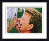 Framed Nick Price Autographed 8'' x 10'' Kissing Trophy Photograph
