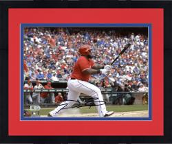 "Framed Prince Fielder Texas Rangers Autographed 8"" x 10"" Swinging Photograph"