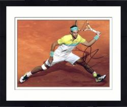 "Framed Rafael Nadal Autographed 8"" x 10"" Yellow Green Clay Photograph"