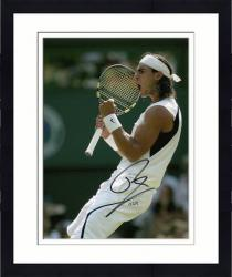 "Framed Rafael Nadal Autographed 8"" x 10"" White Shirt Fist Pump Photograph"