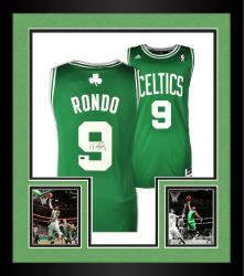 Framed Rajon Rondo Boston Celtics Autographed Reebok Swingman Jersey