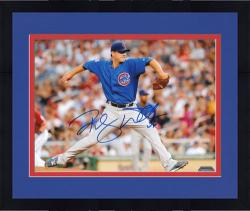 "Framed Randy Wells Chicago Cubs Autographed 8"" x 10"" Horizontal Pitching Photograph"