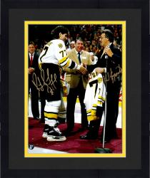 "Framed Ray Bourque & Phil Esposito Boston Bruins Dual Autographed 11"" x 14"" Number Retiring Photograph"