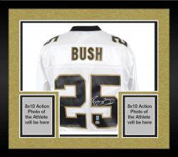 Framed Reggie Bush Autographed Jersey - White Reebok Mounted Memories