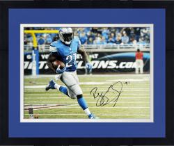"Framed Reggie Bush Detroit Lions Autographed 16"" x 20"" Blue Uniform Running Photograph"