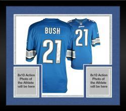Framed Reggie Bush Detroit Lions Autographed Nike Blue Game Replica Jersey