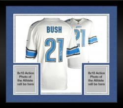 Framed Reggie Bush Detroit Lions Autographed Nike White Game Replica Jersey