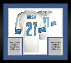 Framed Reggie Bush Detroit Lions Autographed Nike White Game Replica Jersey