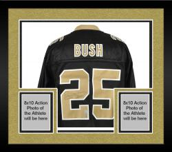 Framed Reggie Bush Signed Jersey - Black EQT Reebok Mounted Memories