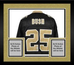 Framed Reggie Bush Signed Jersey - Black EQT Reebok Mounted Memories
