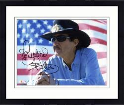 Framed Richard Petty Autographed 8'' x 10'' American Flag Photograph