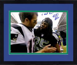 "Framed Richard Sherman Seattle Seahawks Autographed 16"" x 20"" with Tom Brady Photograph with U Mad Bro Inscription"