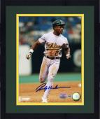 "Framed Rickey Henderson Oakland Athletics Autographed 8"" x 10"" Running Photograph"