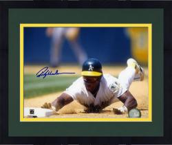 "Framed Rickey Henderson Oakland Athletics Autographed 8"" x 10"" Slide Photograph"