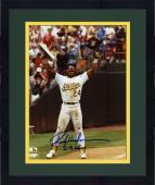 "Framed Rickey Henderson Oakland Athletics Record Breaker Autographed 8"" x 10"" Photograph with ""SB King"" Inscription"