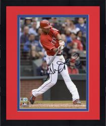 "Framed Alex Rios Texas Rangers Autographed 8"" x 10"" Red Uniform Hitting Photograph"