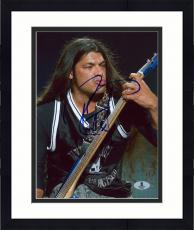 "Framed Robert Trujillo Autographed 8"" x 10"" Guitar Photograph - Beckett COA"