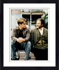 Framed Robin Williams Autographed 11'' x 14'' With Matt Damon Vertical Photograph