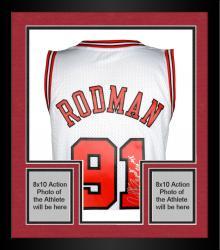 "Framed Dennis Rodman Autographed Bulls Jersey ""3 Peat"