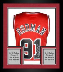 Framed Dennis Rodman Chicago Bulls Autographed Red Adidas Jersey with HOF 2011 Inscription