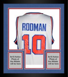 "Framed Dennis Rodman Autographed Pistons Jersey with ""HOF 2011"" Inscription"