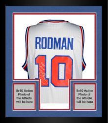 "Framed Dennis Rodman Autographed Pistons Jersey with ""HOF 2011"" Inscription"