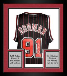 "Framed Dennis Rodman Autographed Bulls Jersey with ""The Worm"" Inscriptions"