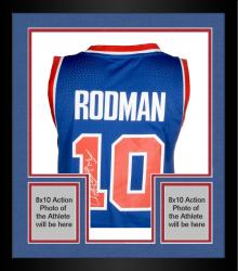 "Framed Dennis Rodman Autographed Pistons Jersey with ""The Worm"" Inscriptions"