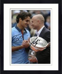 """Framed Roger Federer & Andre Agassi Dual Autographed 8"""" x 10"""" 2009 French Open Photograph"""